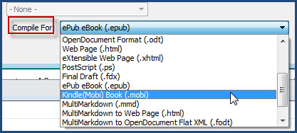 Compile formats in Scrivener