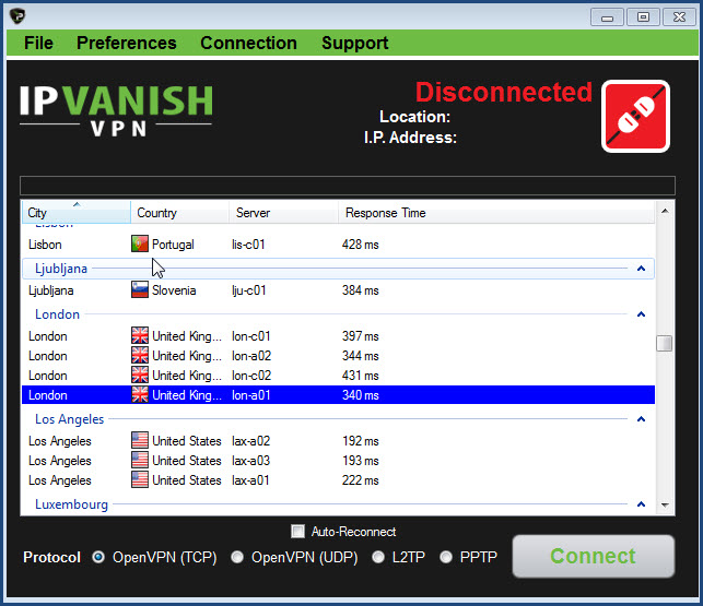 IP Vanish connect to international server