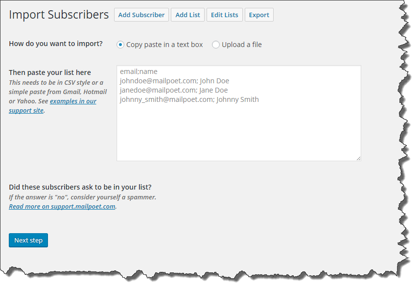 Import Subscribers into MailPoet
