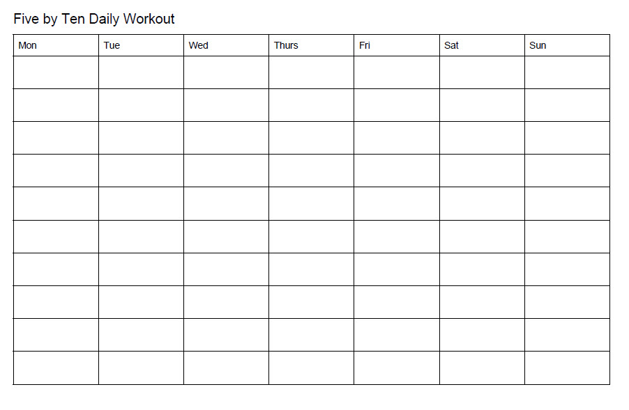 Example of daily workout worksheet